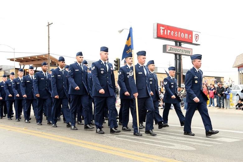 U.S. Air Force Lt. Col. Scott Cline, 312th Training Squadron commander, leads his formation in San Angelo's Veteran's Day Parade Nov. 11, 2017, San Angelo, Texas.
