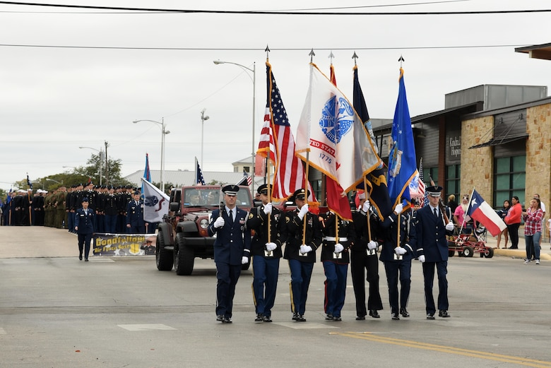 The Joint Service Color Guard leads the way for San Angelo's Veteran's Day Parade Nov. 11, 2017, San Angelo, Texas.