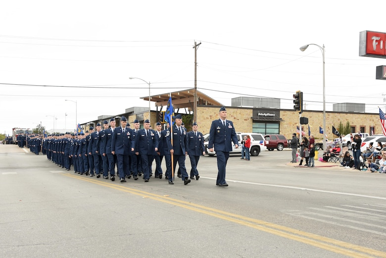 U.S. Air Force Lt. Col. Kenneth Stremmel, 315th Training Squadron commander, leads his formation in San Angelo's Veteran's Day Parade Nov. 11, 2017, San Angelo, Texas.