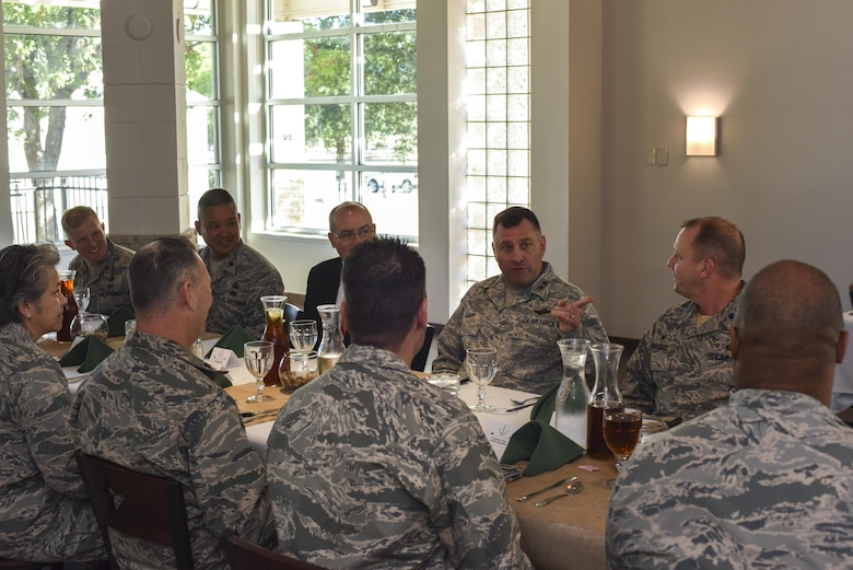 U.S. Air Force Maj. Gen. Timothy Leahy, 2nd Air Force commander, speaks with squadron commanders at the Event Center on Goodfellow Air Force Base, Texas, Nov. 2, 2017. Leahy took the opportunity of the lunch to discuss concerns and hopes of the different squadrons. (U.S. Air Force photos by Airman 1st Class Zachary Chapman/Released)