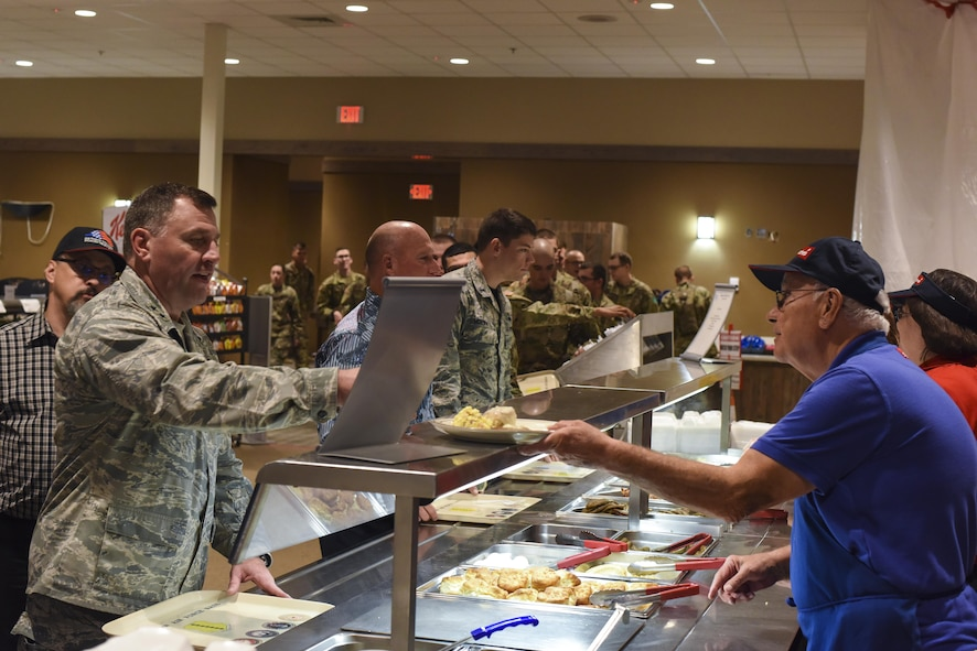 U.S. Air Force Maj. Gen. Timothy Leahy, 2nd Air Force commander, gets breakfast before a question and answer with 17th Training Wing Airmen at the Western Winds Dining Facility on Goodfellow Air Force Base, Texas, Nov. 3, 2017.  The Airmen in attendance were tasked with being ready to ask Leahy any questions they had, along with answering their questions Leahy spoke about lessons that he has learned in the Air Force. (U.S. Air Force photos by Airman 1st Class Zachary Chapman/Released)