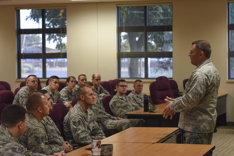 U.S. Air Force Maj. Gen. Timothy Leahy, 2nd Air Force commander, speaks before a group of instructors in the Consolidated Learning Center on Goodfellow Air Force Base, Texas, Nov. 3, 2017. Leahy spoke on manning problems in the Air Force and opened the floor for questions that the instructors had. (U.S. Air Force photos by Airman 1st Class Zachary Chapman/Released)