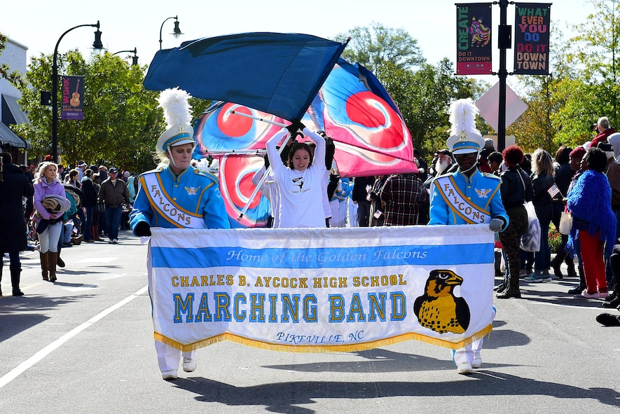 Members of the Charles B. Aycock High School Marching Band perform during the Wayne County Veterans Day Parade, Nov. 11, 2017, in Goldsboro, North Carolina. The parade was sponsored by the Wayne County Veterans and Patriots Coalition, who provide services for approximately 23,000 veterans living within Wayne County. (U.S. Air Force photo by Airman 1st Class Kenneth Boyton)