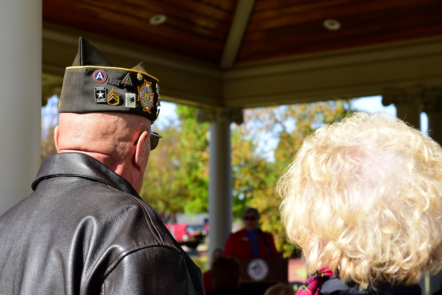 A retired veteran attends the Remembrance and Wreath Laying Ceremony, Nov. 11, 2017, at the Wayne County Veterans Memorial, Goldsboro, North Carolina. More than 20 people attended the ceremony. (U.S. Air Force photo by Airman 1st Class Kenneth Boyton)
