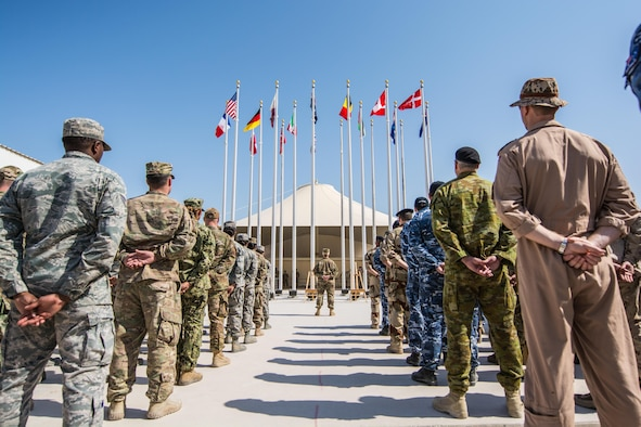 Coalition partners hold joint Remembrance and Veterans Day parade at Al Udeid
