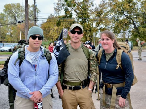 AFOSI SAs participate in Veterans Day ruck march.