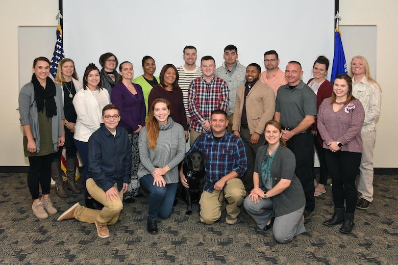 National Guard members from throughout the U.S. gather at Truax Field in Madison, Wisconsin, November 9, 2017, during a week-long Sexual Assault Prevention and Response Victim Advocate Training Course. The 40-hour National Guard Bureau course is a prerequisite for National Guard Airmen selected to become certified victim advocates, and fulfills refresher training requirements for their Army National Guard counterparts. (U.S. Air National Guard photo by Master Sgt. Paul Gorman)