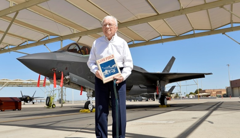 John Marusiak poses for a photo for the Air Force's 2017 Veterans in Blue Series at Luke Air Force Base, Arizona, April 14, 2017. Marusiak enlisted into the Army Air Corps as a pilot and completed a total of 105 missions over Europe during World War II. (U.S. Air Force photo by Staff Sgt. Marcy Copeland)