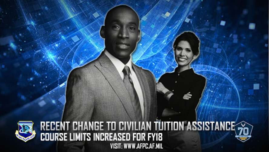 The Civilian Tuition Assistance Program has increased the number of courses per semester for civilian employees using tuition assistance in fiscal year 2018. (U.S. Air Force graphic by Kat Bailey)