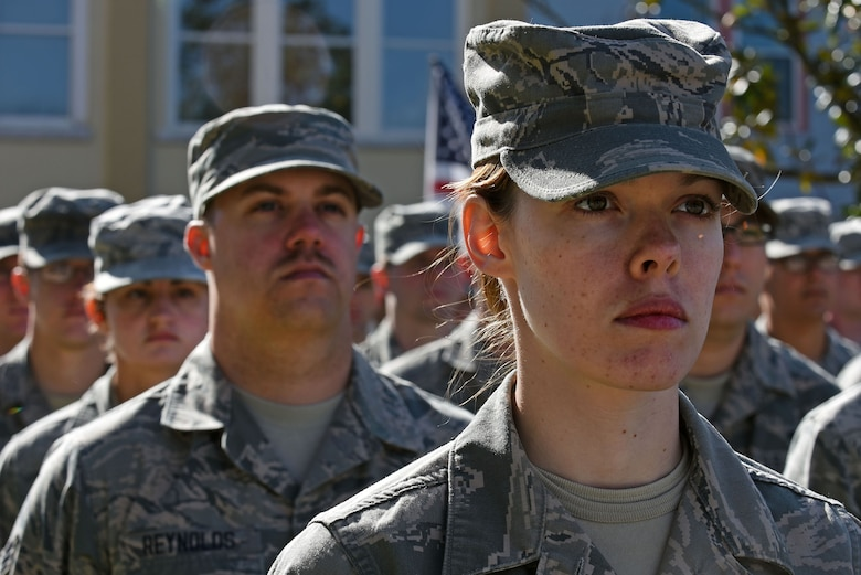U.S. Airmen attending the 20th Force Support Squadron Senior Master Sgt. David B. Reid Airman Leadership School stand in formation during a Veterans Day Celebration ceremony in Sumter, South Carolina, Nov. 11, 2017.