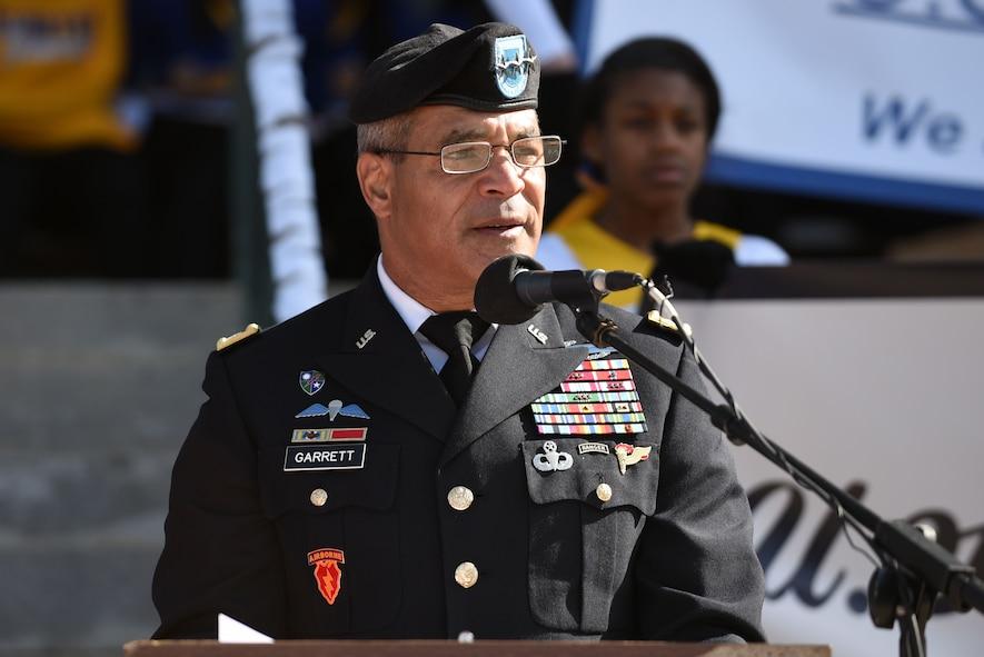 U.S. Army Lt. Gen. Michael Garrett, U.S. Army Central commanding general, speaks to attendees during a Veterans Day Celebration in Sumter, South Carolina, Nov. 11, 2017.