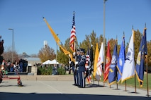 The Kirtland Honor Guard posts the colors at the Veterans Day Ceremony Nov. 11 at the New Mexico Veterans Memorial. Past, present and future veterans were honored during the ceremony.