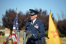 Maj. Gen. Matthew Molloy, Air Force Operational Test and Evaluation Center commander, speaks to the audience at the Veterans Day Ceremony Nov. 11 at the New Mexico Veterans Memorial. Molloy encouraged listeners to strive to serve the country and the community.