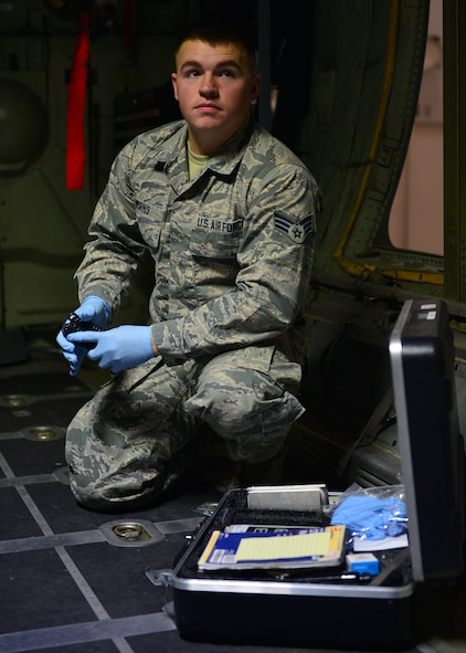 Senior Airman Matthew Morris, 19th Aerospace Medicine Squadron bioenvironmental engineering technician, is nominated as the Combat Airlifter of the Week Nov. 14, 2017, at Little Rock Air Force Base, Ark. He enabled the bioenvironmental engineering flight to ensure 5,800 personnel from 137 workplaces were protected from more than 6,000 hazards.(U.S. Air Force photo by Airman 1st Class Codie Collins)