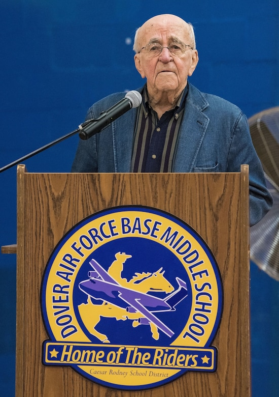 Retired Lt. Col. Clarence Wolgemuth briefly addresses attendees, students and faculty during an assembly in the gymnasium Nov. 9, 2017, at Dover Air Force Base Middle School on Dover AFB, Del. Wolgemuth was recognized as the DAFBMS Veteran of Honor for 2017. (U.S. Air Force photo by Roland Balik)