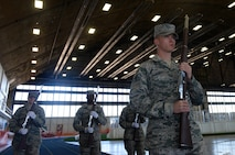 Senior Airman Andrew Zander, a formal training instructor assigned to the United States Air Force Honor Guard, Joint Base Anacostia-Bolling, DC, leads Airmen from the Ellsworth Air Force Base, S.D., Honor Guard in parade manuals at the Pride Hangar on base, Oct. 30, 2017. This section of the training was the most advanced portion of the training class, it pushed Airmen to learn how to move fluidly with their weapons and maintain control while showcasing the skill and ability of the ceremonial guardsmen. (U.S. Air Force photo by Airman Nicolas Z. Erwin)