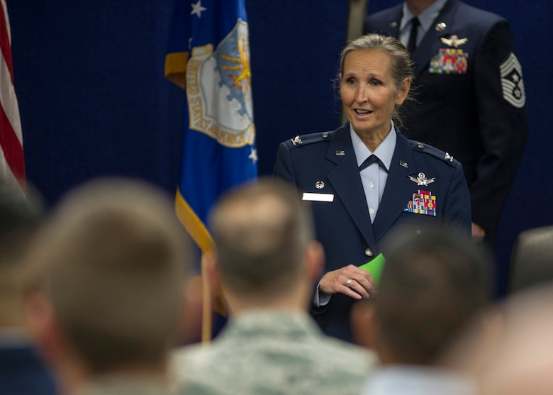 Col. Traci Kueker-Murphy, 310th Space Wing commander, speaks to members of the wing during the activation ceremony of the 710th Operations Group at Buckley AFB on Saturday, Nov. 4, 2017.