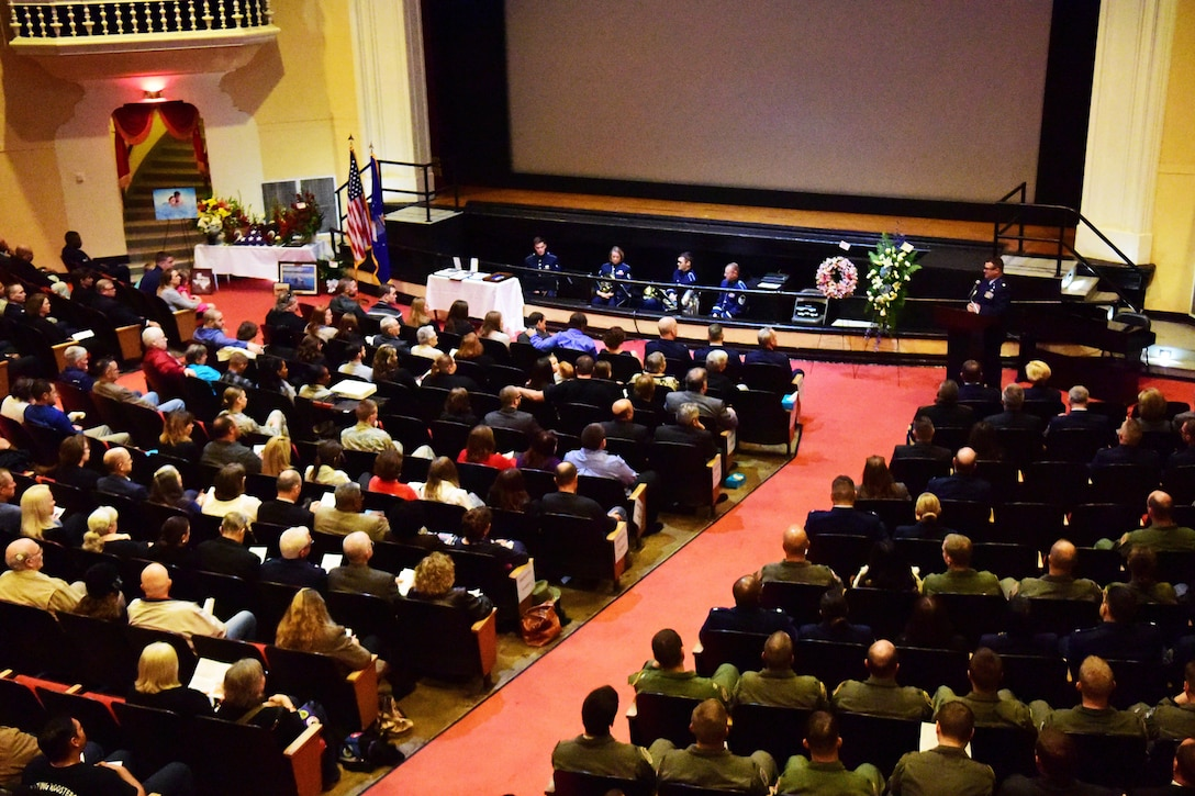 More than 500 people attended a funeral in the Fleenor Auditorium at Joint Base San Antonio-Randolph's Building 100, Taj Mahal, Nov. 9, 2017 for Senior Master Sgt. Karen Marshall and her husband Robert Scott Marshall.  The couple were killed in a shooting at First Baptist Church in Sutherland Springs, Texas Nov. 5, 2017.  Karen was an Active Guard and Reserve member and Scott was a civilian employee with the 12th Flying Training Wing.