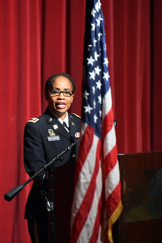 Army Reserve Lt. Col. Priscilla Van Zanten, Transportation Officer, 85th Support Command, spoke to nearly 200 members of her community during a Veteran's Day Ceremony in Buffalo Gove, Illinois on Nov. 11, 2017.