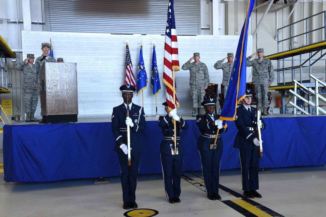 Keesler Honor Guard members present the colors during the 22nd Air Force change of command ceremony Nov. 14, 2017, at Keesler Air Force Base, Mississippi. Maj. Gen. Craig L. La Fave took command of 22nd Air Force during the ceremony. (U.S. Air Force photo by Tech. Sgt. Ryan Labadens)