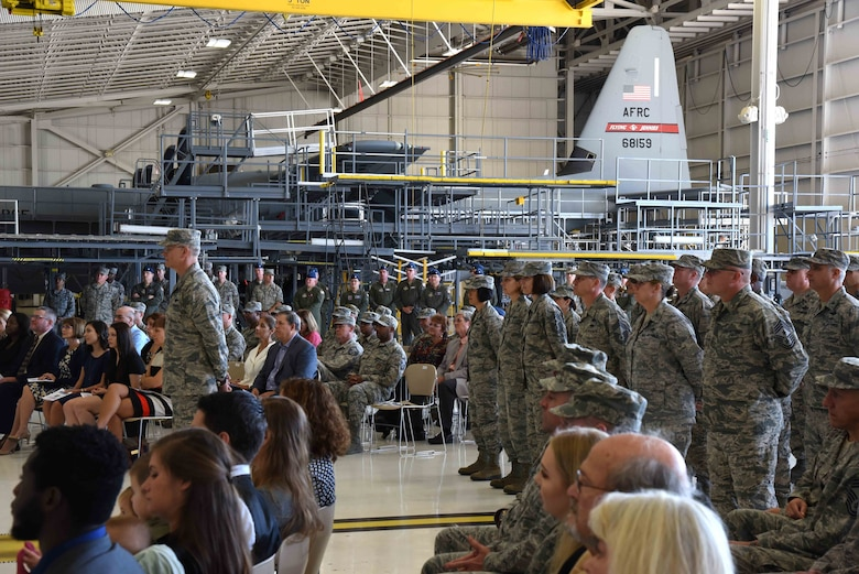 Audience members listen to a speech by Maj. Gen. Craig L. La Fave, 22nd Air Force commander, during a change of command ceremony Nov. 14, 2017, at Keesler Air Force Base, Mississippi. La Fave took command of 22nd Air Force during the ceremony, which took place during the 22nd AF Senior Leader Summit hosted by the 403rd Wing at Keesler AFB Nov. 13 through Nov. 16, 2017. (U.S. Air Force photo by Tech. Sgt. Ryan Labadens)