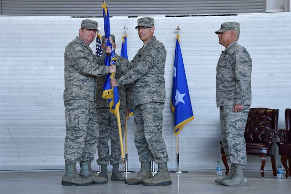 Maj. Gen. Craig L. La Fave (center) took command of 22nd Air Force during a change of command ceremony Nov. 14, 2017, at Keesler Air Force Base, Mississippi. Twenty-second AF is headquartered at Dobbins AFB, Georgia, and the change of command took place during the 22nd AF Senior Leader Summit, which was being hosted by the 403rd Wing at Keesler AFB Nov. 13 through Nov. 16, 2017. (U.S. Air Force photo by Tech. Sgt. Ryan Labadens)