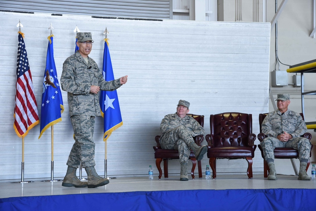 Maj. Gen. Craig L. La Fave, 22nd Air Force commander, addresses audience members during a change of command ceremony Nov. 14, 2017, at Keesler Air Force Base, Mississippi. La Fave took command of 22nd Air Force during the ceremony, which took place during the Air Force Senior Leader Summit hosted by the 403rd Wing at Keesler AFB Nov. 13 through Nov. 16, 2017. (U.S. Air Force photo by Tech. Sgt. Ryan Labadens)
