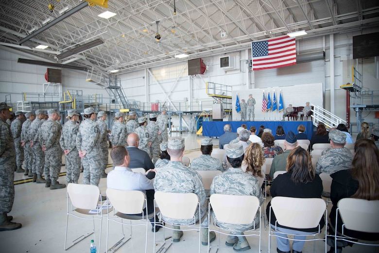Maj. Gen. Craig La Fave, 22nd Air Force commander, speaks to the audience during his change of command ceremony Nov. 14,1017 at Keesler Air Force Base, Mississippi (U.S. Air Force photo by Maj. Marnee A.C. Losurdo)