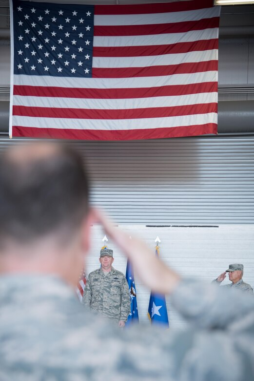 Members of 22nd Air Force salute Maj. Gen. Richard Scobee, Air Force Reserve Command deputy commander, during the 22nd AF change of command ceremony Nov. 14, 2017 at Keesler Air Force Base, Mississippi. (U.S. Air Force photo by Staff Sgt. Heather Heiney)