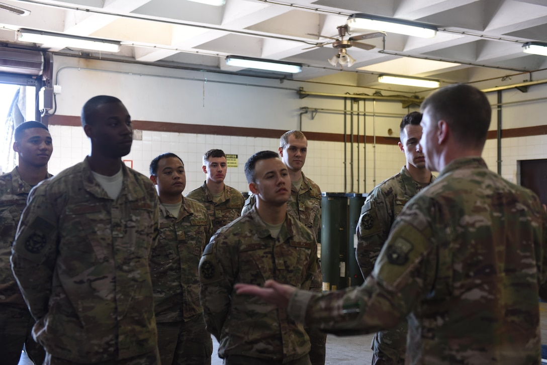 .S. Air Force Brig. Gen. Kyle Robinson, 332nd Air Expeditionary Wing commander, speaks to deployed Airmen of the 447th Expeditionary Aircraft Maintenance Squadron November 7, 2017, at Incirlik Air Base, Turkey.