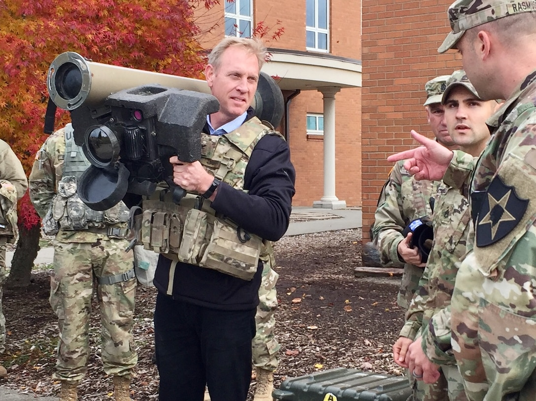 Deputy Defense Secretary Pat Shanahan holds a Javelin anti-tank weapon