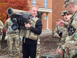 Deputy Defense Secretary Pat Shanahan holds a Javelin anti-tank weapon