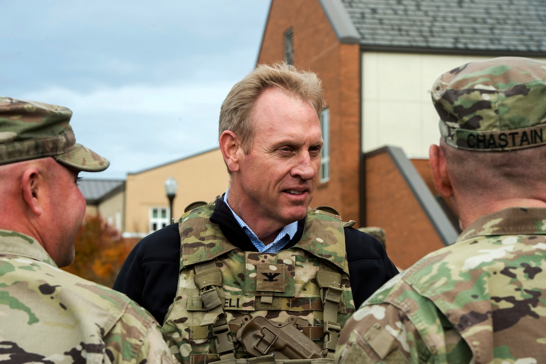 Deputy Defense Secretary Pat Shanahan speaks to soldiers and airmen