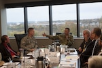 Army Col. Archie S. Herndon Jr., commander of DLA Central Command and Special Operations Command, meets with senior leadership at DLA Distribution headquarters during a visit on Nov. 7.