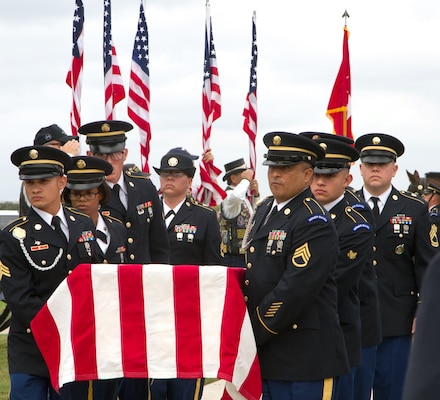 Soldiers of the Military Funeral Honors Caisson Detachment here carry the casket bearing the remains of Gen. Richard E. Cavazos to the assembly area during Caisson Funeral Honors (Fallen Stars) for Cavazos at the Fort Sam Houston National Cemetery, Nov. 14.