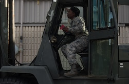U.S. Air Force Staff Sgt. Tasheika Metts, 733rd Logistics Readiness Squadron vehicle maintainer, conducts a quality assurance inspection on a forklift at Joint Base Langley-Eustis, Va., Nov. 14, 2017.