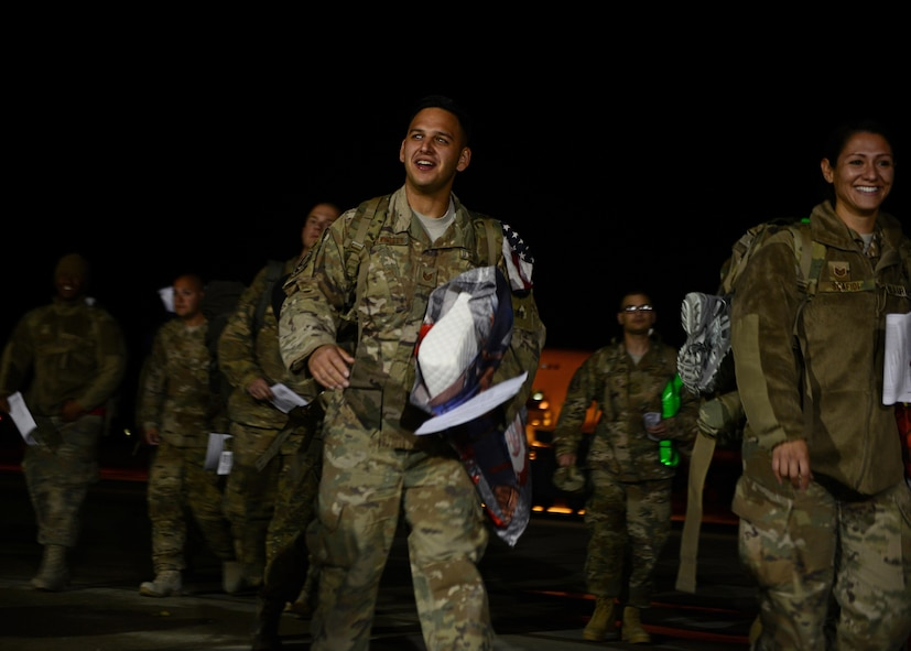 Tech. Sgt. Adam Kelnhofer, 31st Aircraft Maintenance Squadron crew chief flightline expediter, arrives at Aviano Air Base, Italy, Nov. 6, 2017, from a deployment at Bagram Air Field, Afghanistan. Approximately 380 Airmen and 18 F-16 Fighting Falcons were deployed to support Operation Freedom's Sentinel. (U.S. Air Force photo by Airman 1st Class Ryan Brooks)