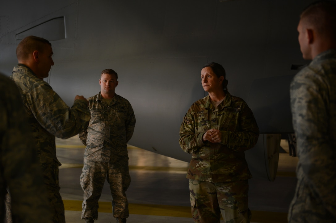 Army Col. Nicole Lucas, Joint Base Lewis-McChord garrison commander, listens to a brief about home station check, Nov. 6, 2017, on the McChord Field flightline.