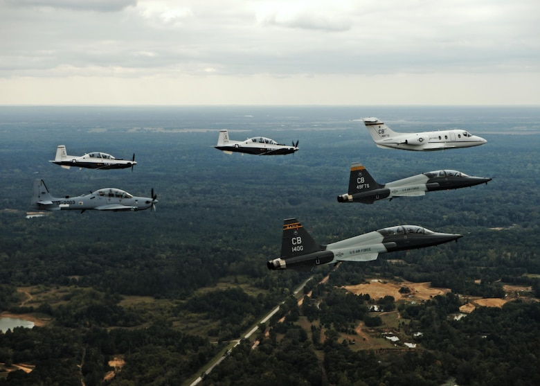 An aircraft from each of the 14th Flying Training Wing flying squadrons were represented in a dissimilar formation in the vicinity of Columbus Air Force Base, Mississippi Oct. 1, 2015.