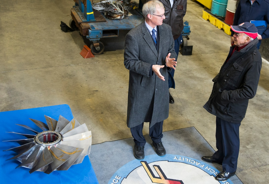Mr. Ian Whittle son of Sir Frank Whittle visits the Air Force Research Laboratory, Wright-Patterson, Air Force Base Ohio
