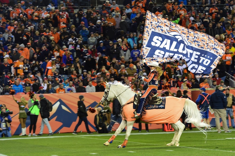 Thunder, Denver Bronco's live mascot, runs onto the field during halftime while Ann Judge, Thunder's trainer, holds a Salute to Service flag Nov. 12, 2017, at Sports Authority Stadium at Mile High in Denver.