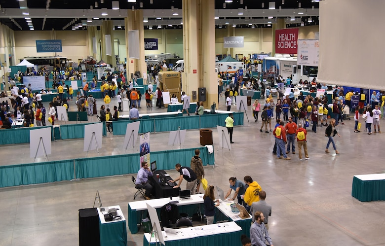 Eighth graders from local schools attend the Pathways2Possibilities (P2P) event at the Mississippi Coast Coliseum & Convention Center Nov. 15, 2017, in Biloxi, Mississippi. P2P is a hands-on interactive career expo for all 8th-graders and at-risk youth, ages 16-24 in South Mississippi. (U.S. Air Force photo by Kemberly Groue)