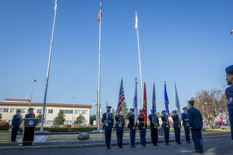 The Honor Guard posts the colors during a Veterans Day Ceremony, Nov. 10, 2017, at Yokota Air Base, Japan.