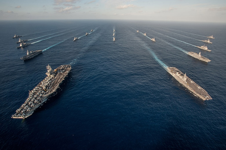 File photo: WATERS SOUTH OF JAPAN (Nov. 23, 2015) The Ronald Reagan Carrier Strike Group (RRNCSG) steams in formation with Japan Maritime Self-Defense Force ships for a photo exercise during Annual Exercise (AE) 16. The 2017 edition of Annual Exercise, a bilateral maritime field training exercise involving the Japan Maritime Self-Defense Force (JMSDF) and U.S. Navy (USN), will be conducted Nov. 16-26. Approximately 14,000 U.S. personnel will participate, as well as the aircraft carrier USS Ronald Reagan (CVN 76).