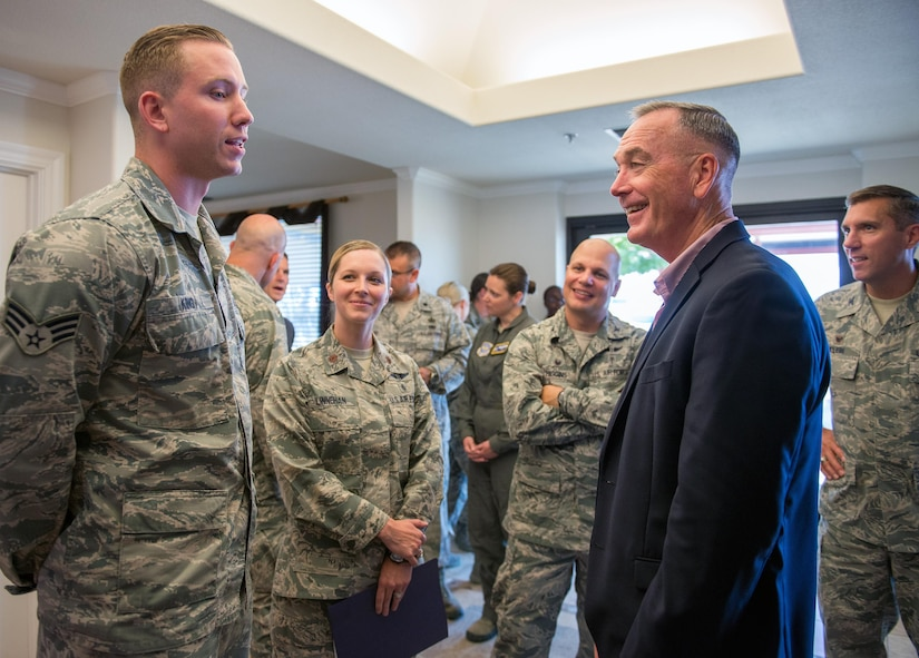 Marine Corps Gen. Joseph F. Dunford Jr., Chairman of the Joint Chiefs of Staff, arrives at Travis Air Force Base, Calif., during a gas and go, August, 10, 2017. (U.S. Air Force photo by Louis Briscese)