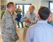 Ed Markey, U.S. Senator for Massachusetts talks with U.S. Air Force Col. Matthew Leard, 60th Air Mobility Wing vice commander Travis Air Force Base, Calif., during a gas and go, August 16, 2017. Markey is part of a congressional delegation that stopped at Travis en route to Joint Base Pearl Harbor-Hickam. (U.S. Air Force photo by Louis Briscese)