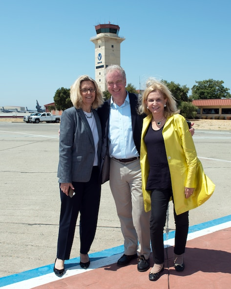 From left Katherine Wilkins, spouse of Chris Van Hollen, U.S. Senator for Maryland, and Congresswoman Carolyn Maloney pose for a photo at Travis Air Force Base, Calif., August 16, 2017. Van Hollen and Maloney are part of a congressional delegation that stopped at Travis en route to Joint Base Pearl Harbor-Hickam. (U.S. Air Force photo by Louis Briscese)