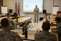 U.S. Air Force Col. Kenneth Lute, 624th Regional Support Group commander at Joint Base Pearl Harbor-Hickam, Hawaii, welcomes attendees to a Continuous Process Improvement Senior Leaders Course held at JBPHH Nov. 6, 2017.