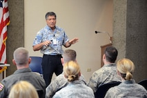 Bob Krekel, director of Enterprise Performance Excellence-Execution at the Hawaiian Electric Company, discusses how HECO has implemented continuous process improvement to address changing needs as part of a tour to HECO in Honolulu during a Continuous Process Improvement Senior Leaders Course held at Joint Base Pearl Harbor-Hickam, Hawaii, Nov. 7, 2017.