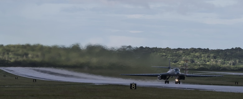 A U .S. Air Force B-l B Lancers assigned to the 37th Expeditionary Bomb Squadron, deployed from Ellsworth Air Force  Base, South Dakota, takes off from Andersen Air Force Base, Guam, Nov. 16, 2017